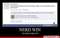 Nerd win!.... The sad thing is that this was me last week... it wasn't my fault.... tbs had a marathon...