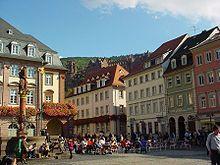 Heidelberg - La plaza del mercado, sitio de cafés en verano y del mercado navideño en invierno.