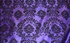 25 Yards Purple Black Flocking Damask Taffeta Velvet Fabric 58  Flocked Decor | eBay
