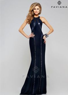 Sexy Fitted Navy Jersey Sequin Halter Neck Racerback Evening Gown