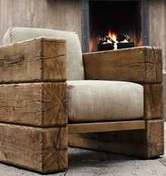 Rustic wood chair.