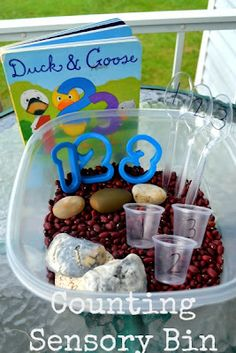 Preschool Math: Counting Sensory Bin (Good ideas for reinforcing numbers and amounts)