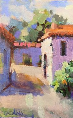 Provençal Buildings by Trisha Adams Oil ~ 12 x 8