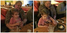 Bentley and MiMi sharing dessert at Chili's!