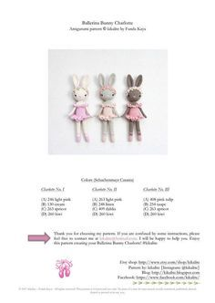 Kikalite crochet pattern Ballerina Bunny Charlotte PDF - 5 pages with many pics Crochet Bunny Pattern, Crotchet Patterns, Cute Crochet, Crochet Amigurumi, Amigurumi Doll, Crochet Dolls, Ballerina, Pink Tulips, Crochet Designs