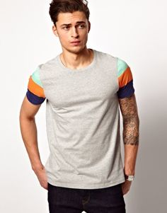 Image 1 of ASOS T-Shirt With Printed Stripe Sleeve