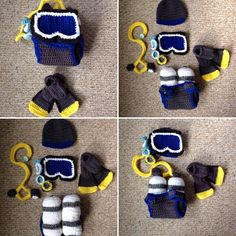 Custom Crochet Baby Scuba Hat, Goggles with Mask, detachable hose and Diaper Cover with Tank and Bootie Flippers Set