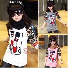 $41.65 (Buy here: https://alitems.com/g/1e8d114494ebda23ff8b16525dc3e8/?i=5&ulp=https%3A%2F%2Fwww.aliexpress.com%2Fitem%2Fwinter-new-children-s-clothing-female-child-big-virgin-girls-white-long-sleeved-shirt-and%2F32497714543.html ) Teens New 2015 Casual Teenager Cartoon Printed Kids clothes Hot sale Autumn baby girl long sleeve T-shirt Children Clothing  for just $41.65