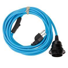 Pendant Light Cord (grounded plug) - Sky Blue   Color Cord Company