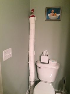 My boys were surprised to find him on a tower of toilet paper:) Elf on the shelf by Gina Bacon