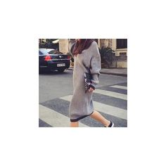Long-Sleeve Sweater Dress (99 SAR) ❤ liked on Polyvore featuring dresses, women, long sleeve dress, rib dress, long sleeve dressy dresses, longsleeve dress and gray dress