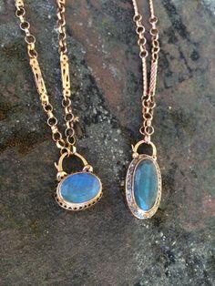Padlocks - Arik Kastan Labradorite Padlocks with Handmade Chains, 14kt Rose Gold, Garnet, Diamond