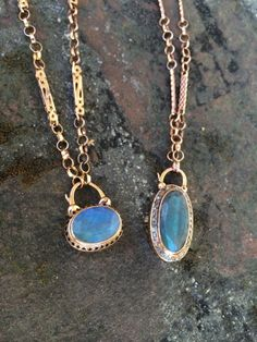 Padlocks - Arik Kastan Labradorite Padlocks with Handmade Chains, 14kt Rose Gold, Garnet, Diamond
