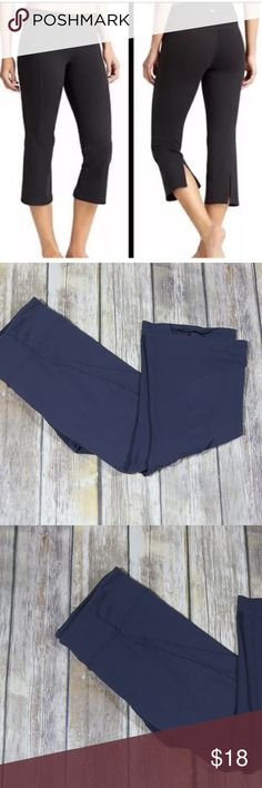 """Athleta Power Ananda Split Leg Cropped Capri Pants Athleta Women's Power Ananda Split Leg Cropped Capri Pants.  Size Small.  Gray.  Style 81704.  Slits at back.  Perfect for active wear such as running and yoga.  Measures approximately 14"""" at waist, 7"""" rise, 22"""" inseam.  88% supplex nylon, 12% lycra spandex.  Machine wash.  In good, preowned condition with no flaws noted.  No trades, offers welcome. Athleta Pants Capris"""