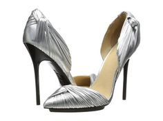 L.A.M.B. Warner (Silver) |  $295 BUY ➜ http://shoespost.com/l-m-b-warner-silver/ Admirers will marvel at your ensemble with these stunning heels from L.A.M.B.! These heels have a leather upper, easy slip-on wear, luxurious leather lining, knotted accents, pointed-toe d'orsay silhouette, leather footbed, stiletto heel and leather outsole.