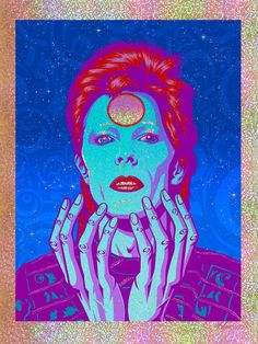 "David Bowie ""'Starman Waiting In The Sky' Art Print - Justin Hampton David Bowie Starman, David Bowie Art, Omg Posters, Movie Posters, El Rock And Roll, Hampton Art, Ziggy Stardust, Sky Art, Geek Culture"