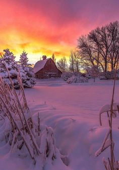 Barn Glow in the Snow