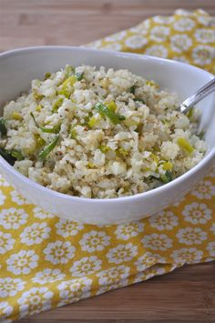 """""""Cauliflower """"Rice"""" with Leeks and Parmesan"""" -- substitute nutritional yeast for parmesan to make it vegan."""