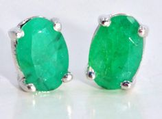 15ct Genuine Emerald Stud Earrings White by ElizabethJewelryInc, $24.99