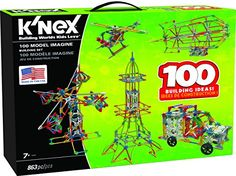 K'NEX 100 Model Building Set – 863 Pieces – Ages 7+ Engineering Educational Toy  Learning doesn't need to be boring! Stimulate your children's imagination with the exciting K'NEX 100 Model Building Set. Each box contains  863 classic parts and pieces  that can be connected to each other to form different structures and automobiles.  K'NEX 100 Model Building Set consists of  plastic rods and connectors  which can be  built into cars, planes, sea creatures, and more . The illustrated ..
