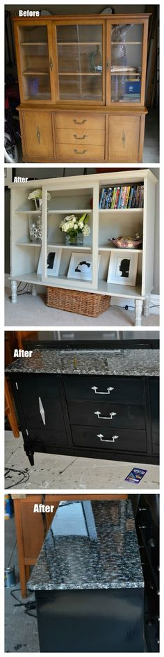 How to completely ruin a beautiful piece of Mid Century Modern Furniture. Before and After - Dining Hutch & Desk - 100 Things 2 Do Diy Furniture Redo, Refurbished Furniture, Repurposed Furniture, Furniture Projects, Furniture Making, Painted Furniture, Home Furniture, Modern Furniture, Furniture Stores