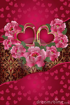 Illustration about Congratulation card with red hearts and roses. Illustration Saint Valentine s Day. Butterfly Wallpaper, Heart Wallpaper, Love Wallpaper, Cellphone Wallpaper, Wallpaper Backgrounds, Iphone Wallpaper, Heart Images, Love Images, Love Pictures