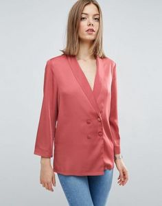 ASOS Premium Longline Double Breasted Pyjama Blouse