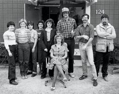 Record staffers and former staffers photographed outside The Record building in 1983. They are (from left) Jane Zajec, Anne Phillips, Marilee Brown, Shirley Liger Cowell, Rae Riebe, Ann Heise Kult (seated), Dan McCool, John Morrissey and Rick Chase.