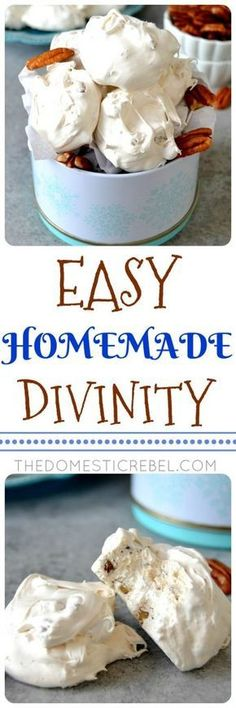 This Easy Homemade Divinity Candy is fantastic and so great for the holidays! Chewy, soft, melt-in-your-mouth candy that's a cross between nougat and fudge with vanilla and pecans. A must-make recipe! #ChristmasCandy
