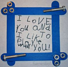 Father Day Crafts For Toddlers | Nuts & Bolts Frame Fathers Day Craft for Kids at B-InspiredMama.com