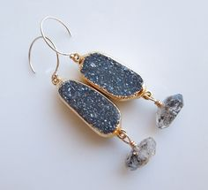 Druzy Earrings with Herkimer Diamond Quartz by 443Jewelry on Etsy, $125.00