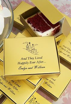 Favor boxes personalized with a design and custom message from the bride and groom make attractive and useful decorations for your wedding reception cake table, brownies station or dessert bar. Leftover cake, brownies and pan desserts can be packaged in individual cake slice boxes for guests to take home and enjoy later. These favor boxes can be ordered at http://myweddingreceptionideas.com/cake_slice_favor_boxes.asp