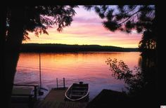 Sunset on Long Pond - Belgrade Lakes, Maine ... This is similar to what I see every day . I love living on a lake in Maine .