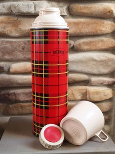 Tall VINTAGE PLAID THERMOS // Big Retro Red Thermos // Classic Red Plaid Vintage Thermos // Tartan Plaid // Camp Thermos // Antique Thermos