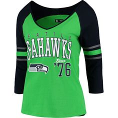 Women s Seattle Seahawks 5th   Ocean by New Era College Navy Neon Green  Athletic Varsity Long Sleeve T-Shirt 7388cec62