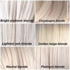 Image may contain: text Silver Blonde Hair, Blonde Hair Shades, Hair Color Shades, Light Blonde Hair, Blonde Hair Looks, Cool Ash Blonde, Ash Blonde Bob, Blonde Color Chart, Pelo Guay