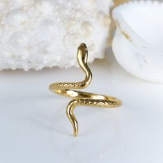 Adjustable Gold Snake Ring, Snake Band, Open Serpent jewelry, Stacking Animal rings, Midi pinky Moth