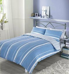 MODERN Striped Duvet Cover - Luxury Cotton Blend Quilt Cover Bedding Bed Set Blue Double Duvet Cover, http://www.amazon.co.uk/dp/B00C788YC4/ref=cm_sw_r_pi_awdl_KuHztb1S10N6Y