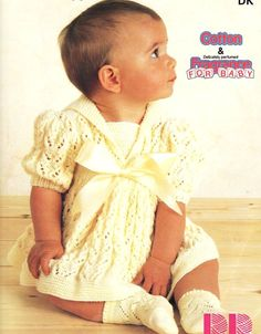 Beautiful baby dress pattern from the 1970s.  Chest sizes 16 to 18, 18 to 20 and 20 to 22 inch included.  Requires DK/8 ply/lt worsted weight yarn.
