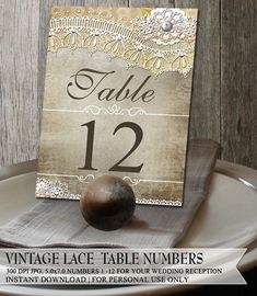 Rustic Lave Wedding Reception Table Numbers 1-12 jpg pdf Digital Printable Faux Vintage Lace, Flowers and distressed bkg on Etsy, $15.00