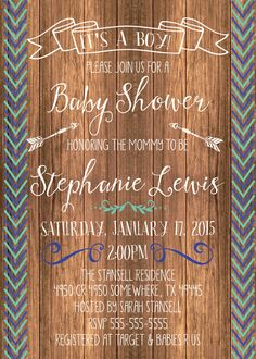 Any Color WOODSY ARROW BUCK Chevron Couples Shower by MolsDesigns - although just an invite maybe but not specifically a shower, no gifts involved.