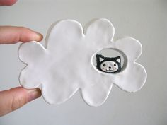 Ceramic Wall Hanging - Kitty Cloud - Cat in the Clouds. $26.00, via Etsy.