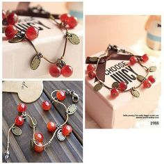 Sweet Girls Women Chain Bracelet Ruby Cherries Charm fashion Jewellery