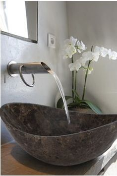 Explore all of the options for your bathroom sink! See beautiful modern bathroom sinks, the perfect sink for small bathrooms ideas, and how to compliment any bathroom vanity with the best sink for you. Bathroom Sink Design, Modern Bathroom, Small Bathroom, Glass Bathroom, Vanity Bathroom, Natural Bathroom, Bathroom Basin, Zen Bathroom, Unique Bathroom Sinks