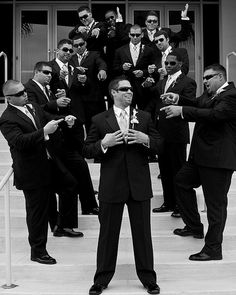 Fun Wedding Picture Poses | Sunglasses can be fun. These guys liked to point. Every pose they came ...