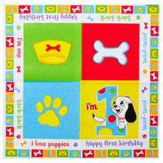 1st Birthday - I Love Puppies Serviettes.  Use these napkins at your puppy themed 1st birthday party contains 16 serviettes