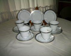 Silver 25th wedding anniversary tea set for 2 ~noritake cup saucer