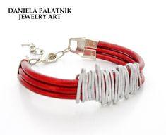 Wrap Leather Bracelet Red Women Bracelet by danielapalatnik