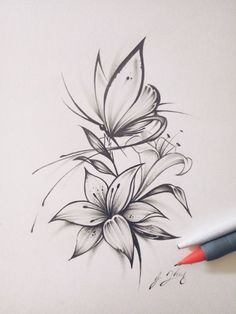 Butterfly Flower Tattoo Twins - tatouages de fleurs - Papillon fleur tatouage jumeaux You are in the right place about diy clothes Here we offer you the - Flower Tattoo Drawings, Small Flower Tattoos, Small Tattoos, Flower Design Tattoos, Tattoo Sketches, Drawings Of Tattoos, Tattoo Ideas Flower, Lilly Tattoo Design, Tattoo Design Drawings