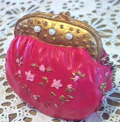 Victorian Doll PURSE Bag Ornament Painted Ceramic by mrnglry, $9.50